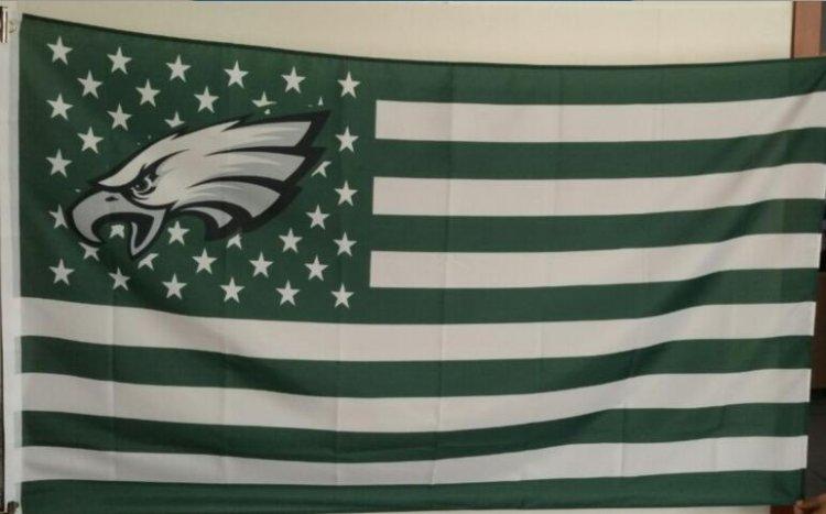 Philadelphia Eagles dark green Flag with Star and Stripe 3ftx5ft Banner 100D Polyester Flag