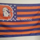 Denver Broncos with starts and stripes flag 3ftx5ft Banner 100D Polyester