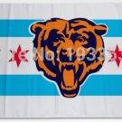 Chicago Bears Chicago flag background 3FTx5FT Banner 100D Polyester Flag metal Grommet