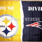 Pittsburgh Steelers vsNew England Patriots House Divided Rivalry Flag 90x150cm metal grommets
