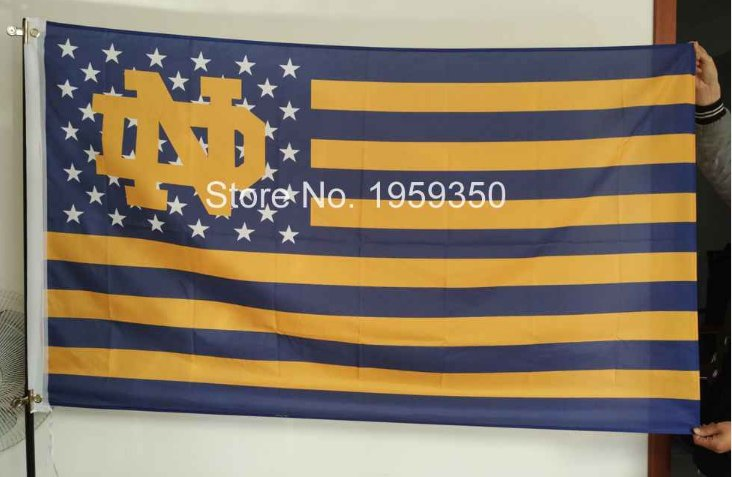 Notre Dame Fighting Irish logo with starts and stripes Flag 3ft x 5ft Polyester NCAA