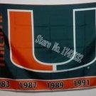 Miami Hurricanes large U logo Flag 3ft x 5ft Polyester