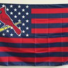 St Louis Cardinals logo with stars and stripes Flag 3x5FT MLB Banner 90x150cm with metal grommets