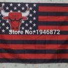 Chicago Bulls black background starts and stripes Flag 3ft x 5ft Polyester 90x150cm