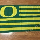 Oregon Ducks logo with US stripes Flag 3FTx5FT Banner 100D Polyester flag 90x150cm NCAA