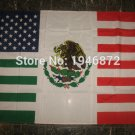 Mexico and American National Flag 3x5ft 150x90cm 100D Polyester 90x150cm with metal grommets