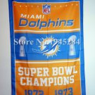 Miami Dolphins Champions Flag 3ft x 5ft Polyester 90X150cm 2 metal grommets banner