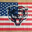 Chicago Bears US national flag background 3FTx5FT Banner 100D Polyester Flag metal Grommet