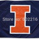 Illinois Fighting Illini Helmet Flag 3ftx5ft Banner 100D Polyester NCAA Flag style 3
