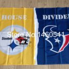 Pittsburgh Steelers vs Houston Texans House Divided Rivalry Flag 90x150cm metal grommets