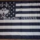 Connecticut Huskies With starts and stripes US Flag 3ft x 5ft Polyester NCAA style 1