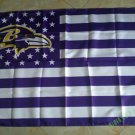 Baltimore Ravens white background with stars and stripes Flag 3FTx5FT Banner