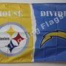 Pittsburgh Steelers vs San Diego Chargers House Divided Rivalry Flag 90x150cm metal grommets
