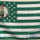 Boston Celtics logo with US stars and stripes Flag 3FTx5FT Banner 100D Polyester flag 90x150cm