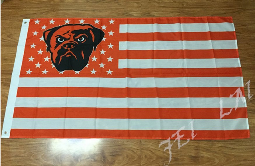 Cleveland Browns LOGO with US stars and stripes Flag 3FTx5FT Banner 100D Polyester flag 90x150cm