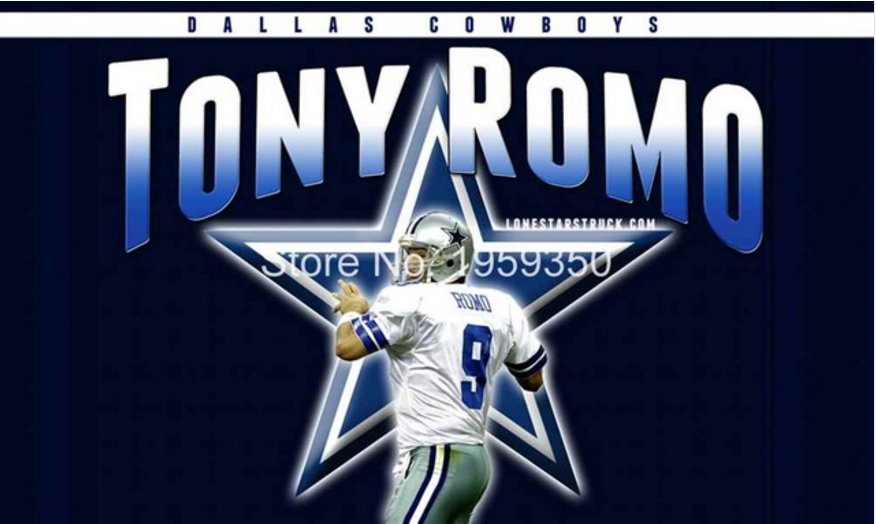 Dallas Cowboys Tony Romo Flying Flag Banner flag 3ft x 5ft 100D Polyester 90x150cm