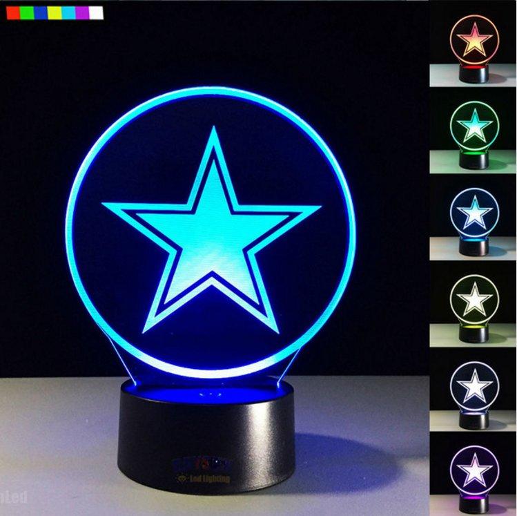 Dallas Cowboys Logo Night Lamp Creative 3D Illusion Bedside Lights 7 Colors