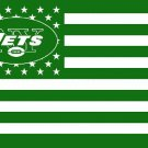 New York Jets logo with US stars and stripes Flag 3FTx5FT Banner 100D Polyester