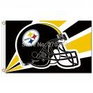Pittsburgh Steelers Helmet Flag 3ft X 5ft Black Yellow World Series Football