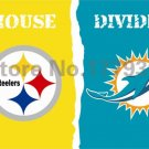 Pittsburgh Steelers Miami Dolphins House Divided Flag 3ft x 5ft