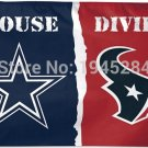 Dallas Cowboys Houston Texans House Divided Flag New 3x5ft 90x150cm