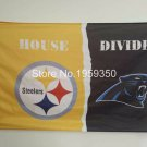 Pittsburgh Steelers vs. Carolina Panthers House Divided Rivalry Flag 90x150cm