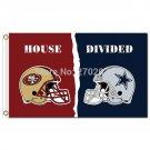 San Francisco 49ers Vs DALLAS COWBOYS House Divided flag 3ft X 5ft