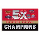 San Francisco 49ers Banner Champions Flag 3ft X 5ft Polyester Banner 90x150cm