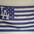Los Angeles Dodgers with starts and stripes flag 3x5 FT Banner 100D Polyester