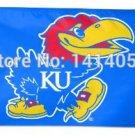 Kansas Jayhawks Flag 150X90CM NCAA 3X5FT Banner 100D Polyester