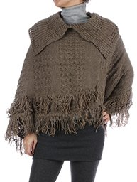 Collared Poncho w/Fringe in Brown