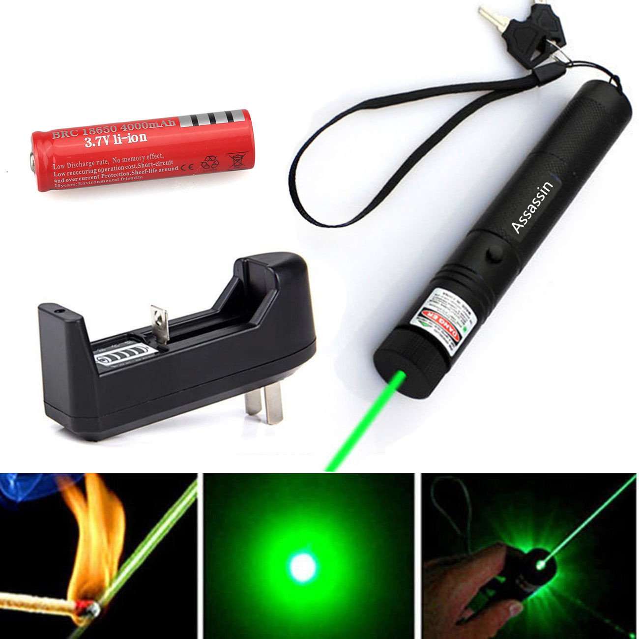 Assassin Powerful Military Green Laser Pointer Pen 5mw 532nm + Battery + Charger