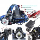 Tactical Police Cree XM-L T6 LED Headlamp 2000LM Rechargeable+Battery +Charger
