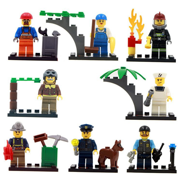 Lego City Compatible City Town Police Rescue Worker Pilot Minifigures