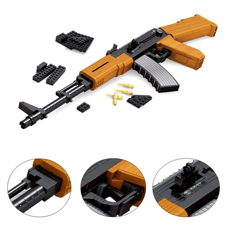 AK47 Heavy Submachine Rifle Swat Police Gun Lego Rifle Compatible Building Toys
