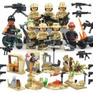 Military set of 6 commando army falcon swat soldiers & 2 terrorists Lego Compatible Minifigures
