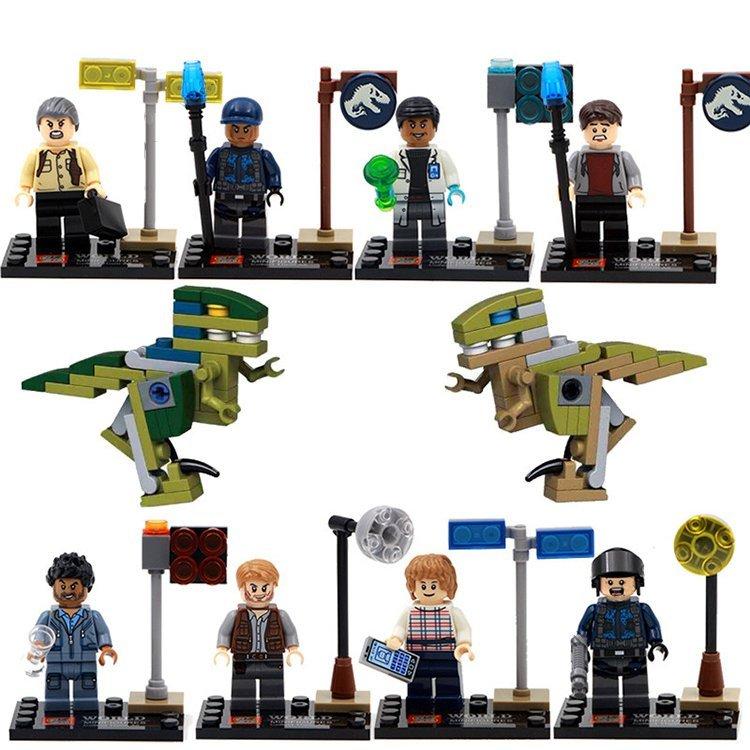 Jurassic Park World Studio Raptor Dinosaur Minifigure Lego Jurassic Figures Compatible Toy