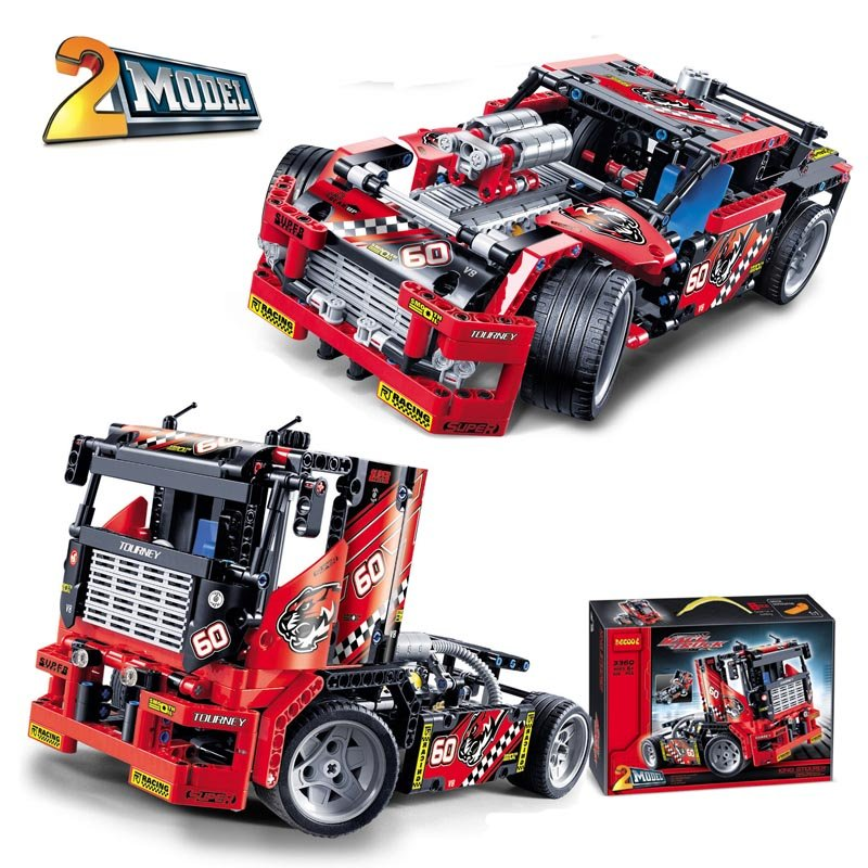 Race Truck Car 2 In 1 Transformable Bricks Building Toys Cool Gift for Boys Kids