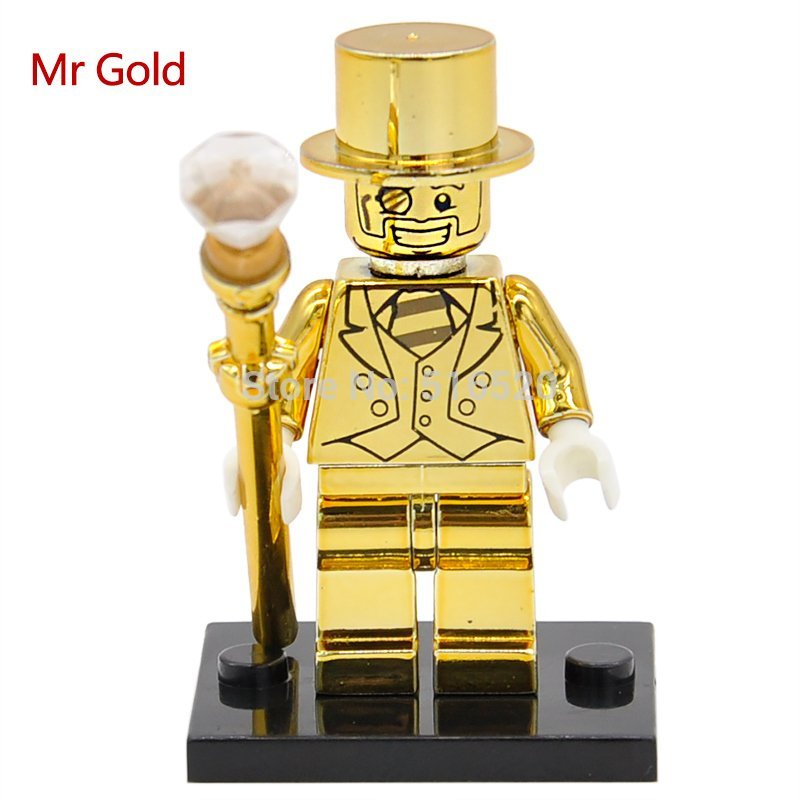 Mr.Gold Limited Edition Chrom Golden Lego Minifigures Compatible