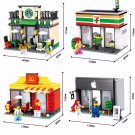 City Series Mini Street Shop Mini Apple Store McDonald`s Starbucks Cafe 7 Eleven Fit Lego Sets