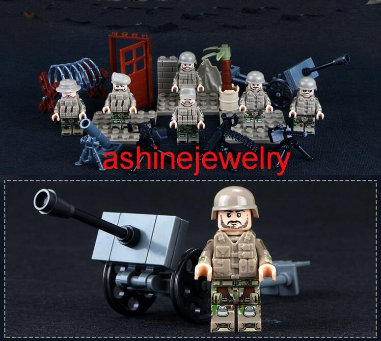 British WW2 Soldiers minifigures Military Sets Lego Compatible Toy