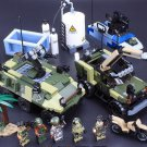 Military Armored Vehicle Supplie Oil Tanker Truck with Soldiers for Lego Military Base Vehicles