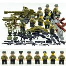World War II America soldiers minifigures Artillery Base Lego toy WW2 Military