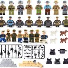WW2 Eight Country soldiers Minifigures Compatible Lego Minifigure building block Toy