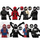 8pcs Venom Deadpool Spider-Man Minifigures Compatible Lego Venom building block Toy