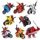 8pcs Deadpool Minifigures Motorcycle Toy Compatible Lego Super Heroes sets