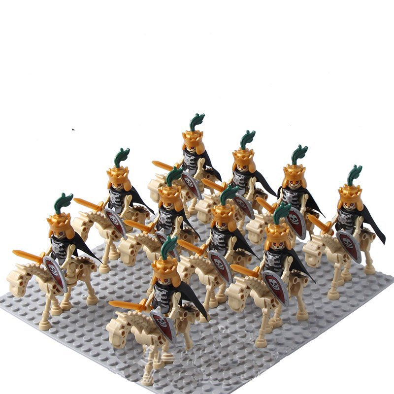 10pcs Medieval Skeleton Knights Minifigures Compatible Lego Medieval Knights Toy