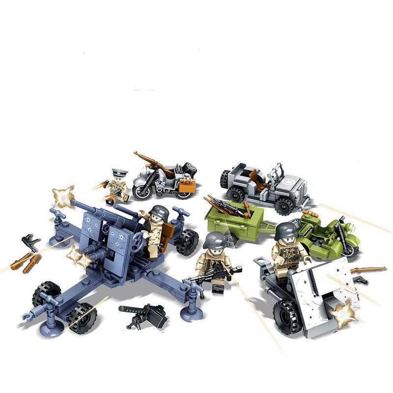 Battle of Berlin German Anti-aircraft gun Army Minifigures Compatible Lego WW2 Military sets