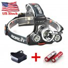 3000LM Boruit XML T6+2R5 Tactical LED Headlamp Rechargeable + Battery + Charger