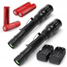 2PC 4000LM X800 T6 LED Flashlight Cree XML Rechargeable Tactical Torch+Batt+Charger